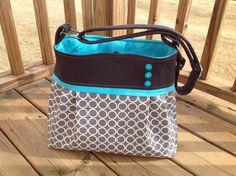 Diaper bag in charcoal grey and grey circles.   medium/large