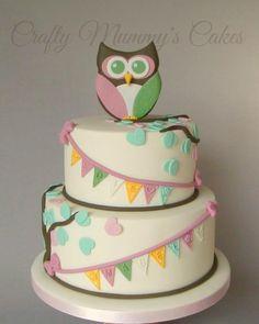 Owl Christening Cake by CraftyMummysCakes (Tracy-Anne)