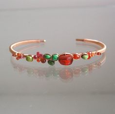 Fire Opal Rose Gold Filled Cuff Green Turquoise by bellajewelsII