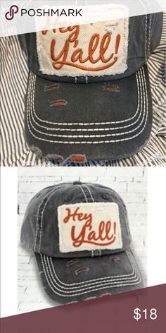 Ladies distressed cap Cute hey y'all cap for ladies Accessories Hats