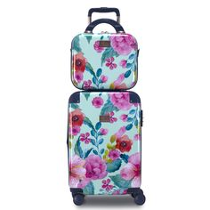 Our Floral print is an absolute graphic delight, full of life-like watercolor details, vivid color streaks grounded with a soft mint base. Polycarbonate/ABS shell with silky soft lining, noth… Carry On Luggage, Luggage Bags, Fun Prints, Floral Prints, Hardside Luggage Sets, Color Streaks, Travel Necessities, Beauty Case, Wet Bag