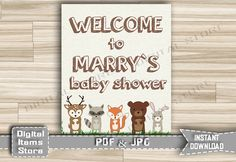 Woodland Welcome Sign Baby Shower  Welcome by DigitalitemsShop