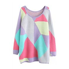 Colorful Geometric Pattern Knitted Jumper | pariscoming