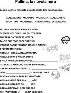 LETTURA DA COMPLETARE SULLA FAMIGLIA ACQUA CLASSE PRIMA: Italian Language, Learning Italian, Me As A Girlfriend, Coding, Education, School, Google, Environment, Speech Language Therapy