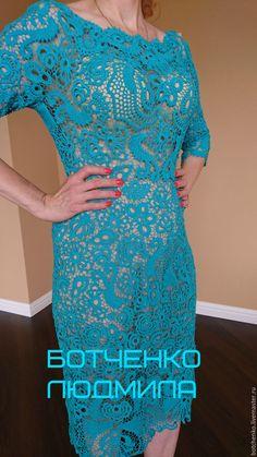 """Купить Платье """"Тиффани"""" - бирюзовый, однотонный, ирландское кружево, ручная авторская работа, платье крючком"""