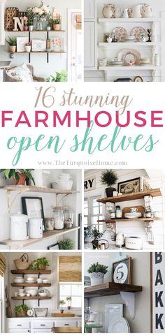 16 Stunning Farmhouse Open Shelving Ideas - tons of gorgeous DIY inspiration! Farmhouse Remodel, Farmhouse Style Kitchen, Modern Farmhouse Kitchens, Home Decor Kitchen, Farmhouse Decor, Farmhouse Shelving, Kitchen Ideas, Farmhouse Design, Country Kitchen