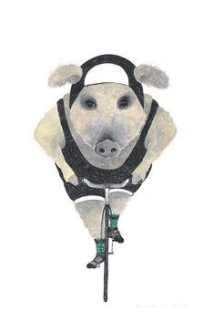 """Wollschwein"" auf RidingRhino.com #Schwein #AnimalArt #Illustration #Aquarell #Rennrad #Fahrrad #Fixie Pruning Shears, Friends, Illustration, Tatuajes, Piglets, Road Bike, Bike, Watercolor"