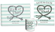 Personalized rope heart save the date foil guest book, puzzle and mug