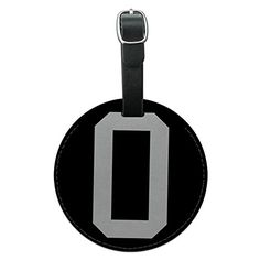Letter O Initial Black White Round Leather Luggage ID Tag Suitcase CarryOn ** Read more  at the image link.Note:It is affiliate link to Amazon.