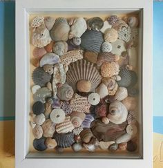 Shore Finds White Shadow Box x · Shore Treasures · Online Store Powered by Storenvy Seashell Art, Seashell Crafts, Beach Crafts, Diy Crafts, Crafts With Seashells, Seashell Shadow Boxes, White Shadow Box, Shell Display, Seashell Projects