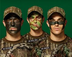 Whether you're hiding from a turkey or accessorizing your camo wardrobe, there's a face-paint plan for you. Army Face Paint, Hunting Face Paint, Camouflage Face Paint, Black Face Paint, Hunting Camouflage, Military Camouflage, Camo Birthday Party, Hunting Birthday, Kids Costumes Boys