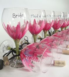 Pink hibiscus Hand painted personalized bridesmaid floral looking inside a flower wine glasses by judipaintedit, via Flickr