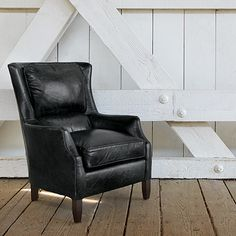 Alex Leather Chair In Old West Black
