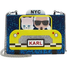 Karl Lagerfeld Karl NYC Taxi Box Clutch (2.426.615 IDR) ❤ liked on Polyvore featuring bags, handbags, clutches, blue, chain purse, karl lagerfeld purse, hardcase clutch, yellow clutches and hard clutch