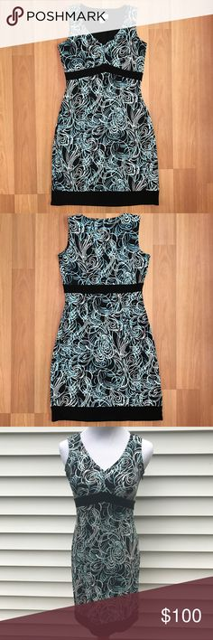 """Ann Taylor LOFT Petites swirly empire sheath dress Ann Taylor Loft Petite Sheath Dress, empire waist, black with blue and white swirls • Excellent Condition • 100% Polyester • Bust: 15.5"""" Length: 34"""" *approximate measurements laid flat* Dresses Midi"""