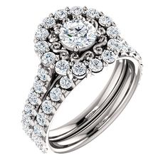 14k white gold diamond halo engagement ring and band  Order this from Bauble Patch Jewelers today!  http://baublepatch.jewelershowcase.com/browse/wedding-and-engagement/  or call (616)785-1100