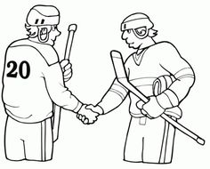 Hockey players show sportmanship coloring pages Sports Coloring Pages, Hockey Players