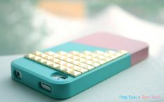iPhone 4 case  Color Block Stud  Blue / Pink / Gold Studs by FECT, $19.99