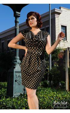 Pinup Girl Clothing- The Shoshanna Dress in Polka Dots | Pinup Girl Clothing