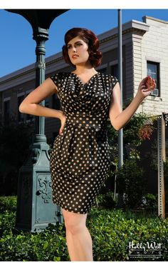 Pinup Girl Clothing- The Shoshanna Dress in Polka Dots | Pinup Girl Clothing