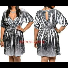 """Plus size dress kimono sexy tattoo paisleys print NEW PLUS size dress paisleys print. kimono style short sleeves GRAY BLACK WHITE  sublimation tattoo print. key hole at back. plunge V neckline. stretchy, lightweight fabric. Fax wrap bust v-neck  Baby doll style with smoking at the waist . Total lenght : 35"""" Polyester +spandex Boutique  Dresses"""
