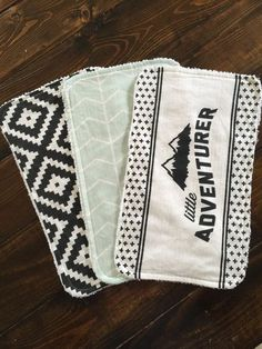 Little Adventurer Burp cloth set, mint chevron, black aztec, baby gift, shower gift