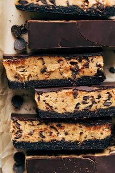 Healthy Brownie Cookie Dough Bars (Vegan and Gluten Free) Vegan Gluten Free Brownies, Healthy Brownies, Vegan Brownie, Brownie Recipes, Dessert Recipes, Vegan Desserts, Healthier Desserts, Vegan Recipes, Fodmap Recipes
