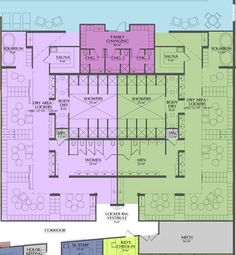 Locker room floor plan showing circulation and adjacent areas. Image courtesy of Essenza Architecture.