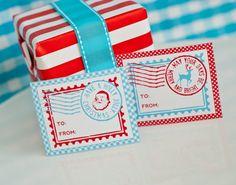 New Printable North Pole Christmas Stamp Gift Tags with cute Santas and Reindeer!