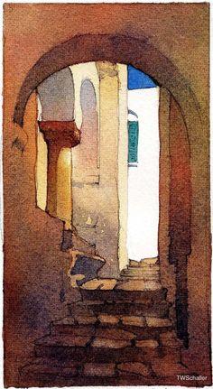 """Street in Siphnos"" - Aguarela de Thomas Wells Schaller / art illustration / artwork Watercolor Architecture, Watercolor Landscape, Watercolor Techniques, Art Techniques, Watercolor Sketch, Watercolor Paintings, Watercolours, Painting Inspiration, Painting & Drawing"