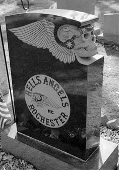 Hells Angels Gravestone - Fairfield Cemetery Spencerport Monroe County New York.   This is awesome!