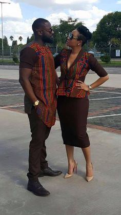 African Fashion the ghanaian actor Elikem Kumordzi and his zimbabwean wife Pokello who met in (BBA) African Inspired Fashion, African Print Fashion, Africa Fashion, Fashion Prints, African Attire, African Wear, African Women, African Style, African Print Dresses