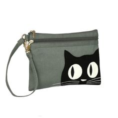 2 Zip Wristlet - Applique Cat