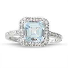 Square Aquamarine Ring in 14K White Gold with Diamond Accents - Zales