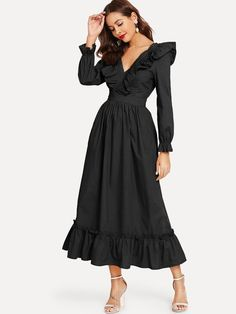 #ad Ruffle Hem Knot Dress. Price: $25.00. Black Casual Long Sleeve Plain Knot Fabric has no stretch Fall Dresses. Sleeve Length : Long Sleeve, #Women #Clothing #Dresses #Casual #Womens #Fashion #Looks #Style #Beauty