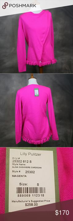 NWT Lilly Pulitzer cashmere cardigan hot pink S NWT Lilly Pulitzer hot pink cashmere wool sweater cardigan S. Fringe at botton hem. Wrap front that secures at neck with a gold button. Soft, gorgeous -- with that amazing Lilly pink that pops! Lilly Pulitzer Sweaters Cardigans
