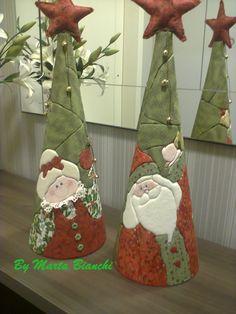 Casal de Papai e Mamãe Noel em patchwork