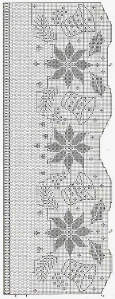 Free filet crochet pattern curtains with coffee pot and cups Crochet Edging Patterns, Crochet Borders, Crochet Diagram, Doily Patterns, Crochet Chart, Crochet Motif, Crochet Doilies, Knit Crochet, Filet Crochet