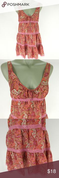 "Victorias Secret Baby Doll Nightie S Pink Silk Victorias Secret Nightie S Pink Silk Paisley Empire Waist Baby Doll Nightgown  Scoop Neckline Gathered Elastic Empire Waist with Bow Tiers with Lace Trim Length 30""+ - adjustable straps  Condition - no flaws noted  All items from a smoke and pet free environment Victoria's Secret Intimates & Sleepwear Chemises & Slips"
