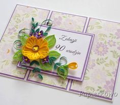 No photo description available. Paper Quilling Tutorial, Paper Quilling Flowers, Quilling Cards, Quilled Creations, Paper Artist, Card Tutorials, Jewelry Patterns, Flower Cards, Gift Tags