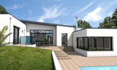 Modern House Exteriors 53034 Do you want to build a modern bungalow in Morbihan? This single storey single-story roof house, with [. Best House Plans, Modern House Plans, Bungalows, Style At Home, Dream House Exterior, House Exteriors, Wooden House, Story House, House Roof