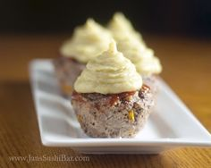 """mini meatloaf """"cupcakes"""" with potato """"icing"""""""