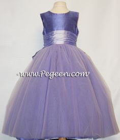 violet and lilac tulle Flower Girl Dresses by Pegeen.com with 10 layers of tulle