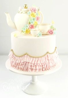 tea party cake - For all your cake decorating supplies, please visit craftcompany.co.uk