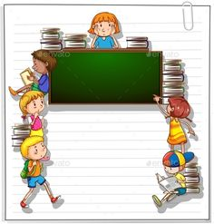 Buy Frame with Kids and a Blackboard by BlueRingMedia on GraphicRiver. Frame with many kids and an empty blackboard on a white background Borders For Paper, Borders And Frames, School Border, Powerpoint Background Design, School Frame, Writing Paper, Blackboards, School Teacher, Clipart