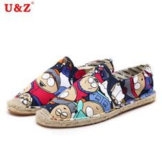 (27.36$)  Watch now - http://aibei.worlditems.win/all/product.php?id=32729987307 - Trend 2017 Cartoon Canvas Espadrilles Shoes no sweat Linen hemp insole shoes,Casual breathable canvas shoes