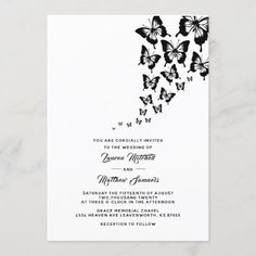 Black Butterfly Wedding Invitation Butterfly Wedding Invitations, Wedding Invitation Size, Colored Envelopes, White Envelopes, Lauren Mitchell, Envelope Liners, Custom Invitations, Wedding Cards, Reception