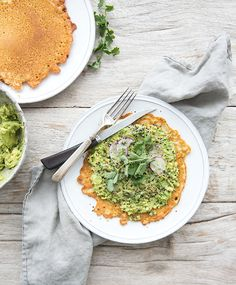 chickpea crepes topped with smashed avocado + arugula — whats cooking good looking