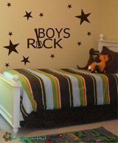 Boys Rock with Guitar Stars Vinyl Wall Decals by thestickerhut, $34.99