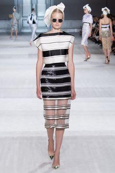 Giambattista Valli Paris Fall/Winter 14/15 Multi-stripe Look with sheer skirt